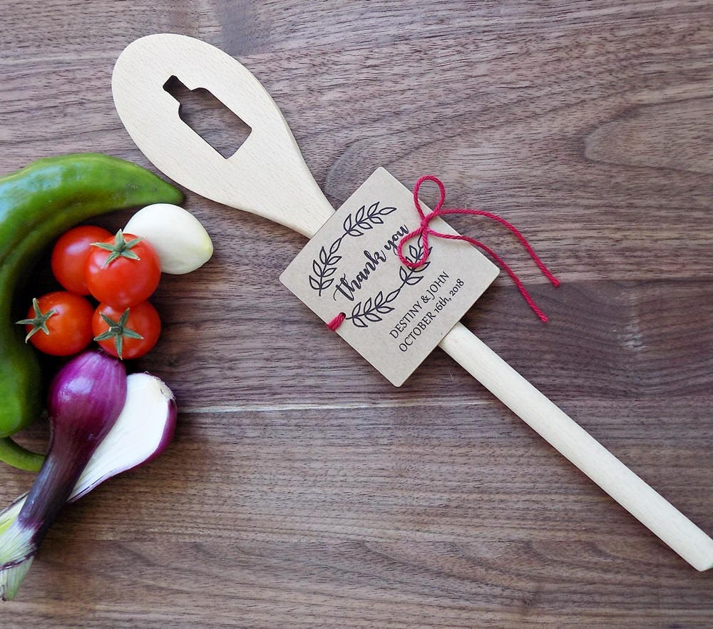 Wine Bottle Wedding Favor Wooden Spoon Rustic Party Favor Bridal