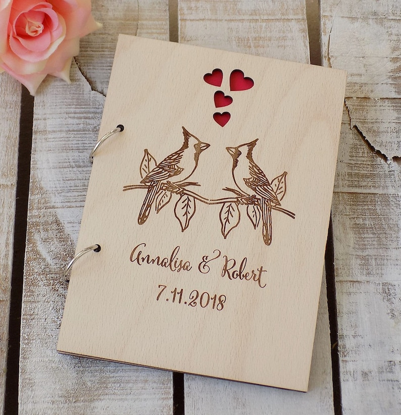Birds Guest Book Rustic Wedding GuestBook Custom Wedding Journal Custom Guest Book Wooden Guest Book Personalised Guestbook Well Wishes Book