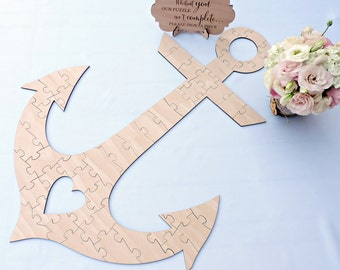 Anchor Wedding Guest Book Puzzle, Wood Puzzle Guest Book, Custom Wedding Guest Book Puzzle, Wooden Wedding Puzzle, Anchor Guest Book Puzzle