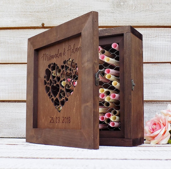 K'Mich Weddings - wedding planning - guest book ideas - shadow drop box guest book - rustic love and wood