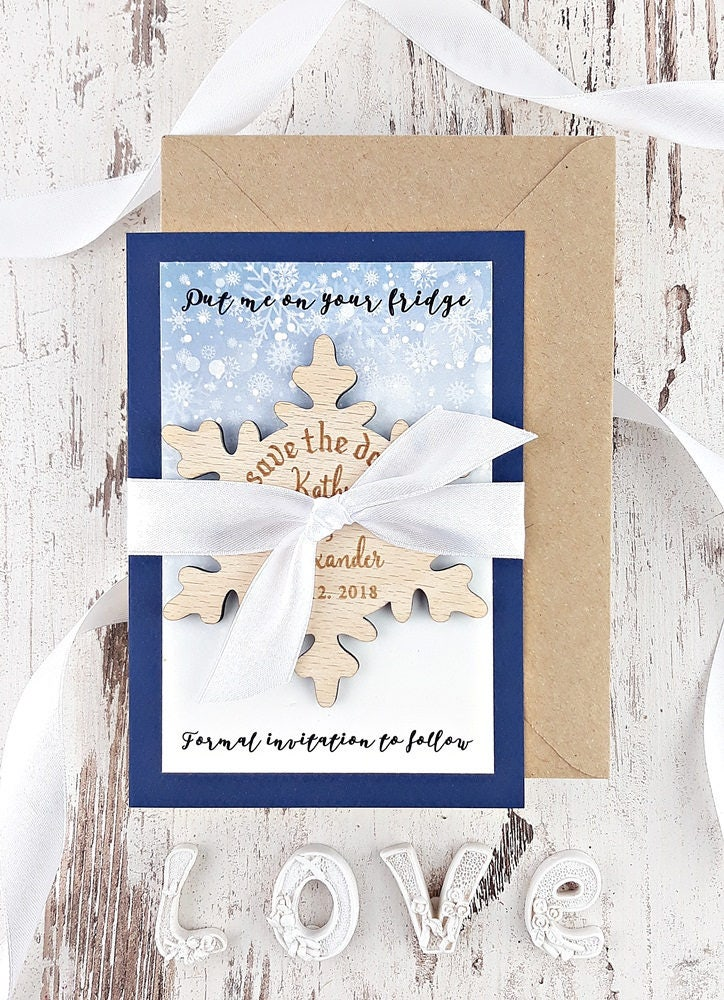 Save The Date Magnet Snowflake Save The Date Wood Save The Dates