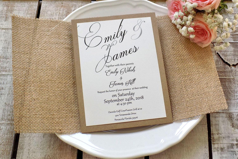 Burlap Wedding Invitation Suite Rustic Wedding Invitation Set Burlap ...