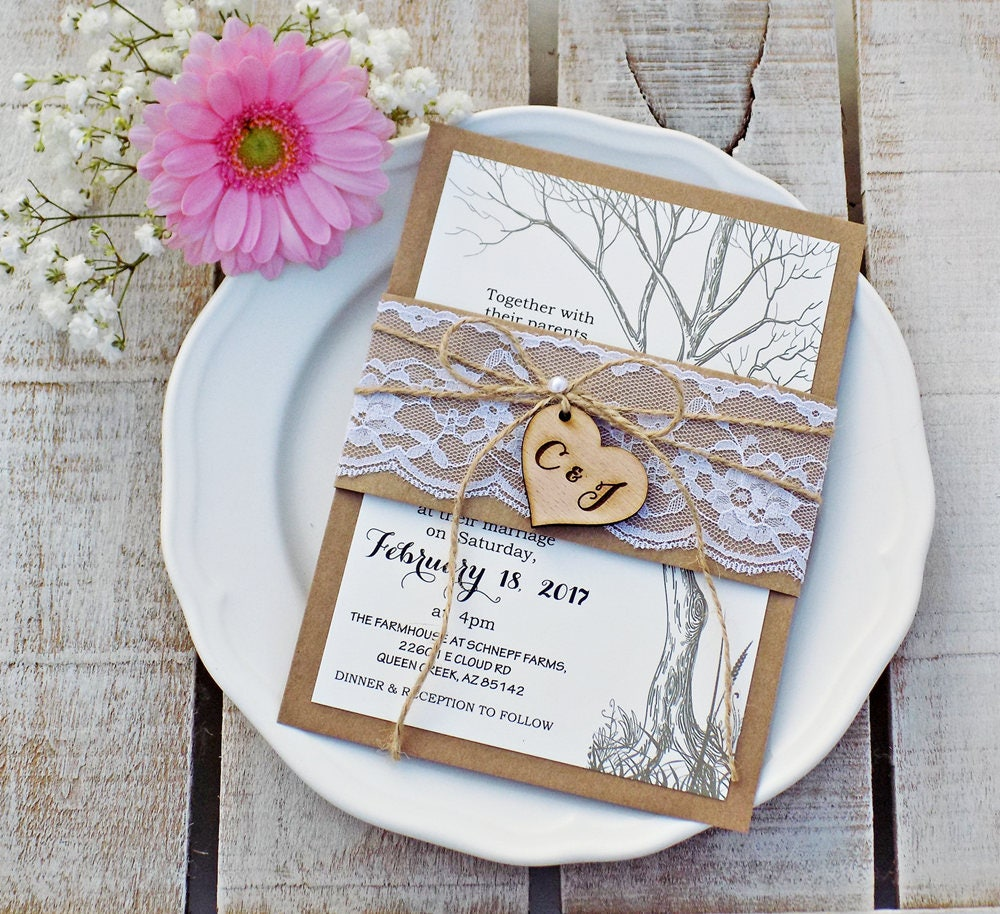 Wedding Invitation Wedding Invitations Rustic Wedding Tree Wedding ...