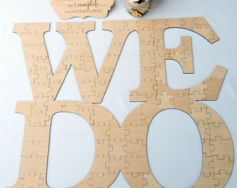 WE DO Wedding Puzzle Guest Book, Wedding Guest Book Puzzle, Wedding Guest Book, Wood Puzzle Guestbook, Custom We Do Wood Puzzle Guest Book