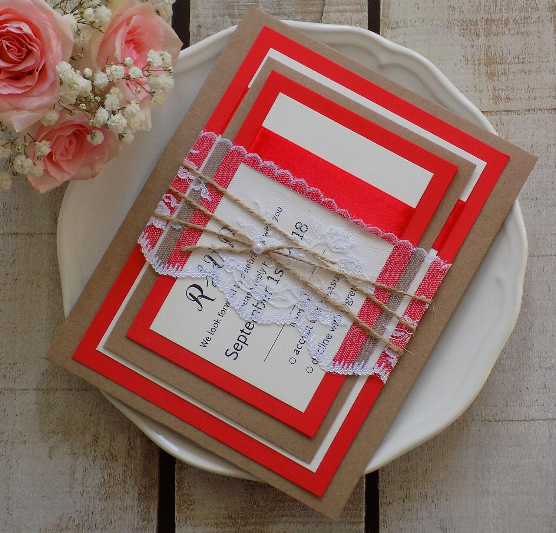 Modern Wedding Invitation Set, Wedding Invitation Set, Lace Wedding ...