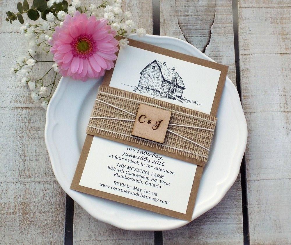 Barn Wedding Invite Farm Invitation Rustic Script Burlap: Barn Wedding Invitations Cheap At Websimilar.org