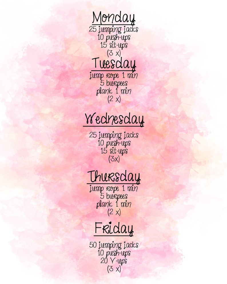 Simple weekly workout sheet image 0