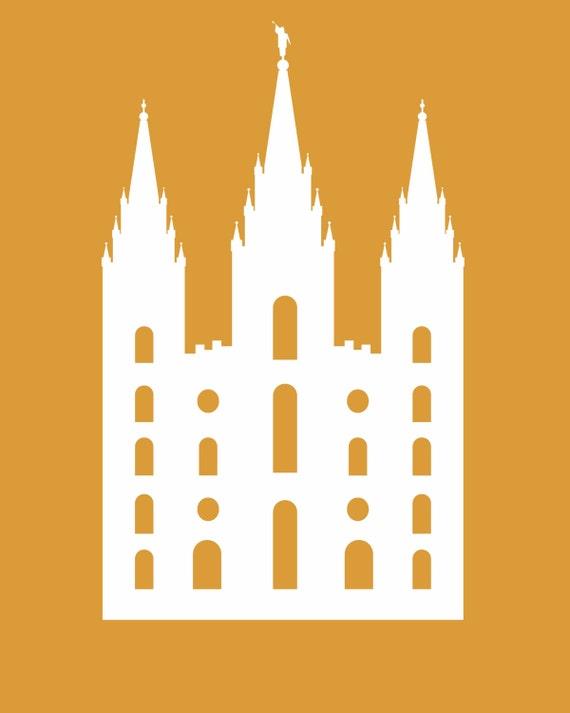 Naranja con blanco silueta del templo Sud   Etsy