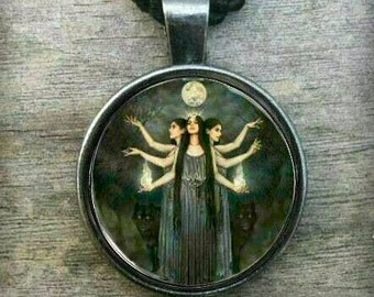 Triple Goddess Hekate necklace Pendant + gift Box - Hecate Witchcraft Wicca