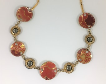 Assemblage Necklace Made From Vintage Tin and Watch Chain