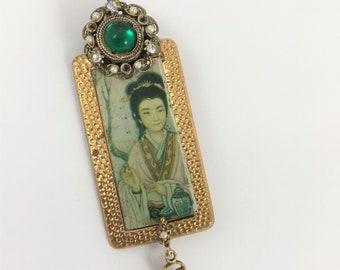 Vintage Assemblage Pin/Pendant made from Vintage Tea Tin, Geisha