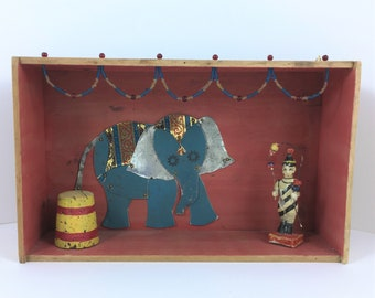 The Circus Has Come to Town, Assemblage Art, Mixed Media Art