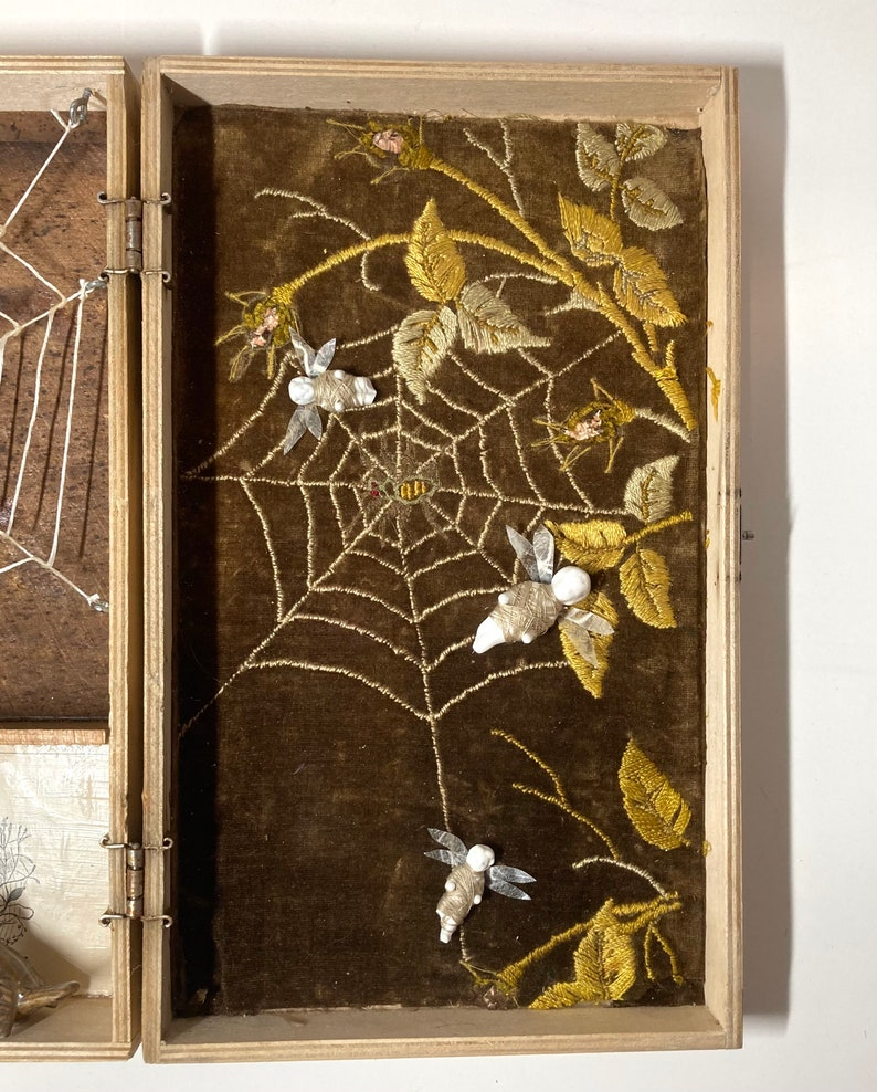 Mixed Media Said the Spider to the Fly Assemblage Art Vintage Assemblage