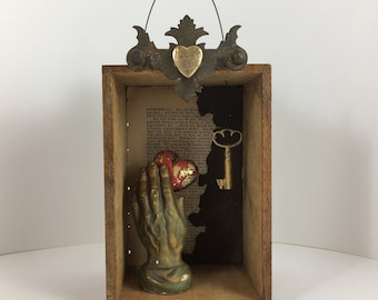 You Hold My Heart In Your Hand, Assemblage Art, Mixed Media Art