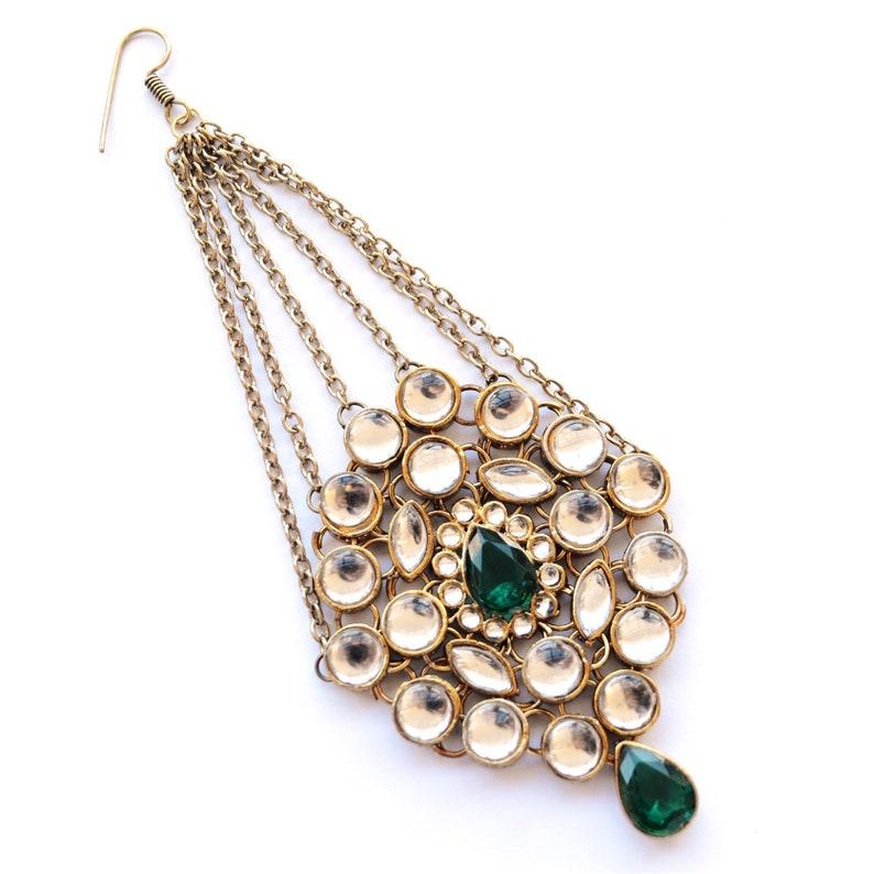 Indian Bridal Headpiece Jewelry Gold Kundan Jhoomar or Passa or Maang Tikka for Women Pakistani or Afghan Jewellery for Hijab for Wedding