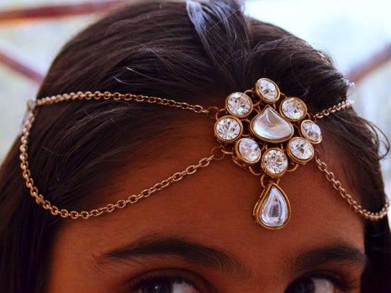 Tikka Maang Indian Jewelry Gold Plated Wedding Bollywood Forehead Bridal Jewelry