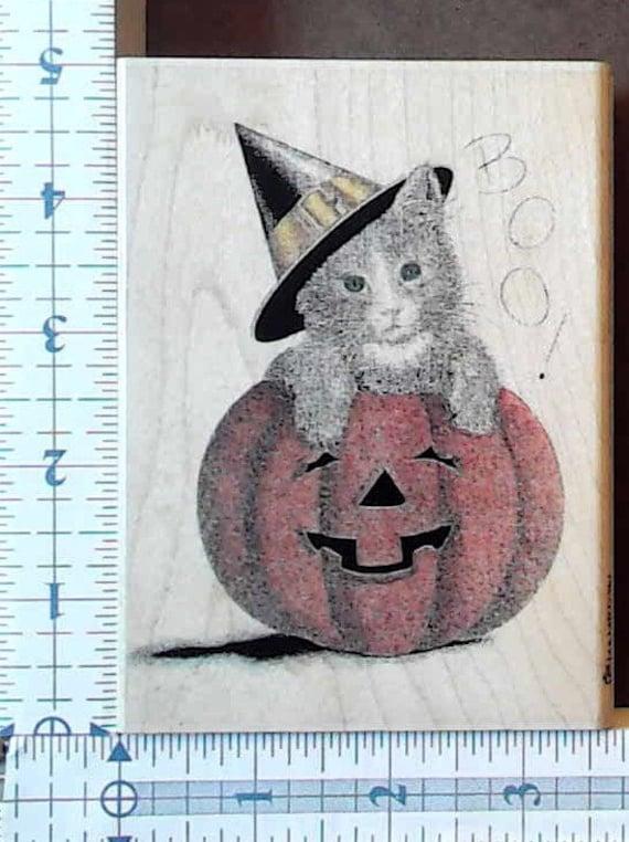 Inkadinkado Wood Mounted Rubber Stamp Cute Pumpkin Cat