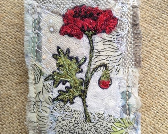 Embroidered Poppy Brooch