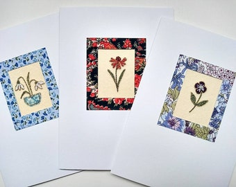 Pack of 3 Embroidered Cards