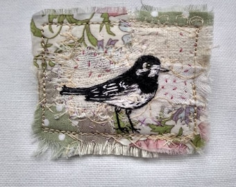 Embroidered Wagtail Brooch