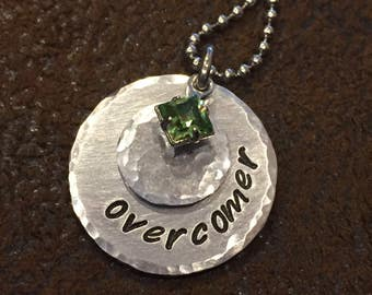 "hand stamped ""overcomer"" necklace, personalized ""overcomer"" birthstone necklace, inspirational gift, birthday gift"