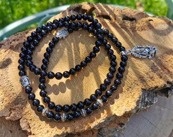 Mala Necklace 108 Beads Ganesha Hamsa Buddha Onyx 8mm Prayer Necklace Black Silver