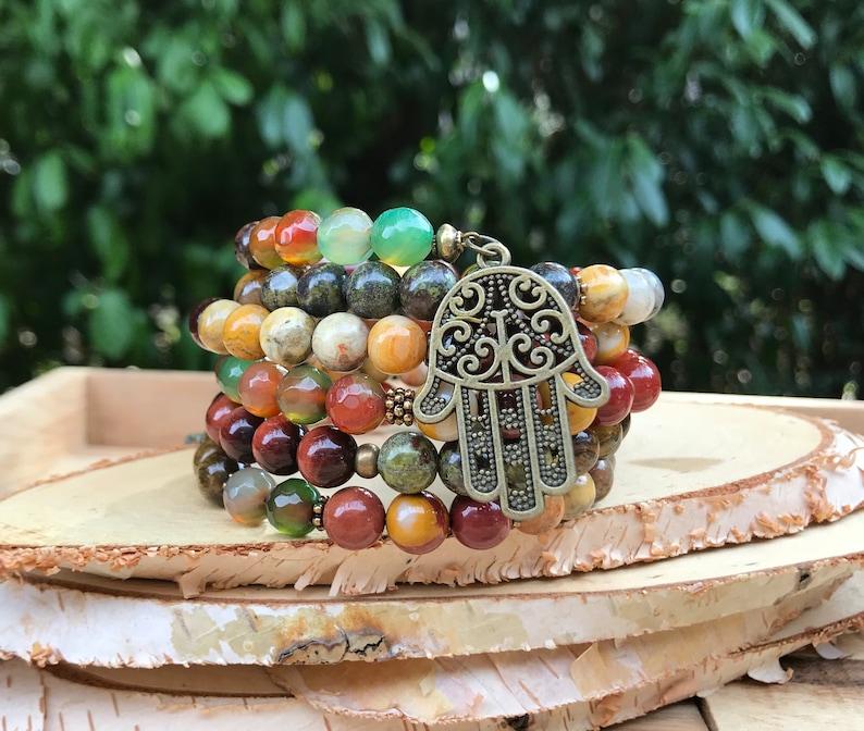 Memory Wire bracelet Ganesha Hamsa Mala bracelet Jaspis Mookait tiger eye agate