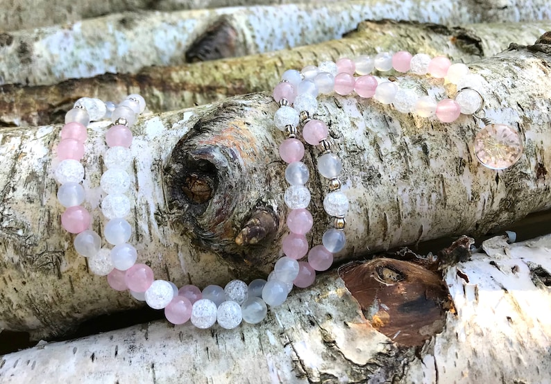 Real Blossom Chain Rose Color Moonstone Mountain Crystal Silver 6 mm Master Healer Clarity Silver Mala