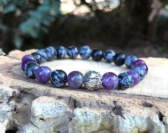 Yoga lotus bracelet mala bracelet lotus Obsidian Amethyst