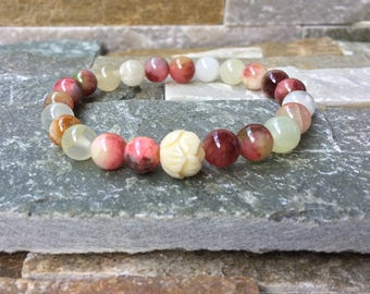 Lotus bracelet mala bracelet Lotus Jade