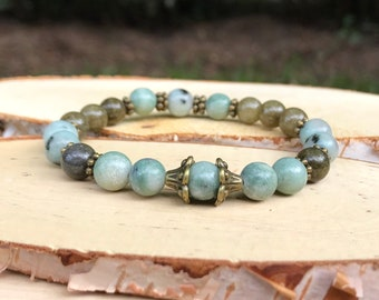 Equilibrium and inner peace jade bracelet mala Bronze Green