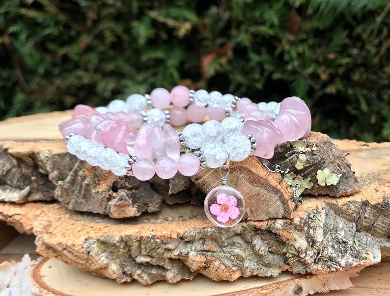 Real flower bracelet rose quartz crystal rose bracelet Silver