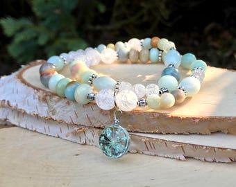 Real flower bracelet Amazonite mountain Crystal blossom bracelet Mala