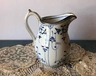 Vintage Charming Blue and White Creamer