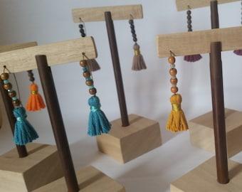 KAMALA | Wood Earrings & Tassels