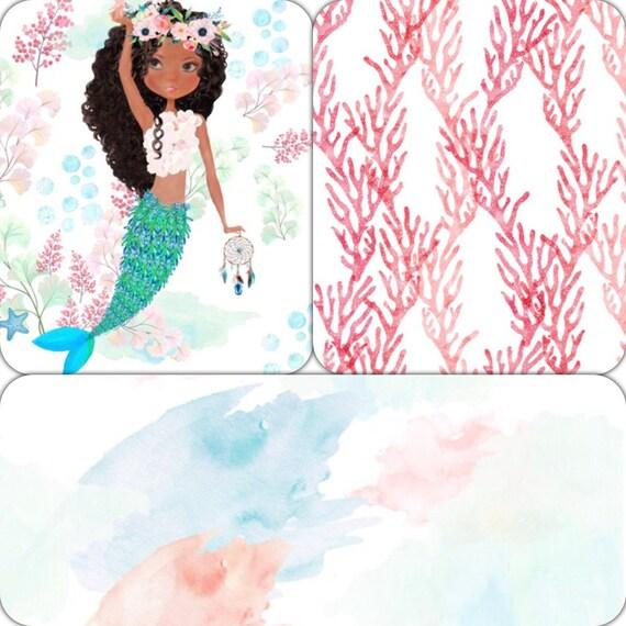 Sirene Fille Lit Literie Literie Pour Berceau Aquarelle Etsy
