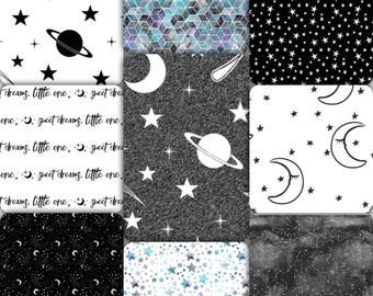 Monochromatic Space Crib Bedding Set - Black & White Galaxy Baby Bedding - Space Toddler Bedding - Celestial Nursery Bedding - Watercolor