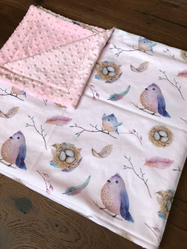Choose Your Backing Color Personalized Flamingo Minky Baby Blanket