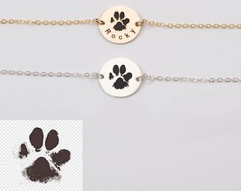 Sterling Silver Paw Print Bangle Bracelet OOAK Dog paw bracelet Pet Remembrance Pet Mom Free Shipping  Dog Bracelet  Paw Print