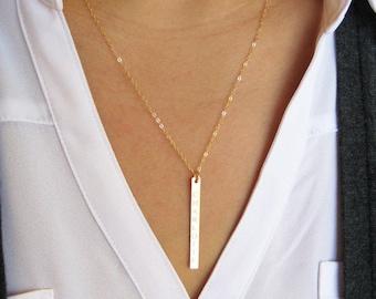 gold bar necklace etsy