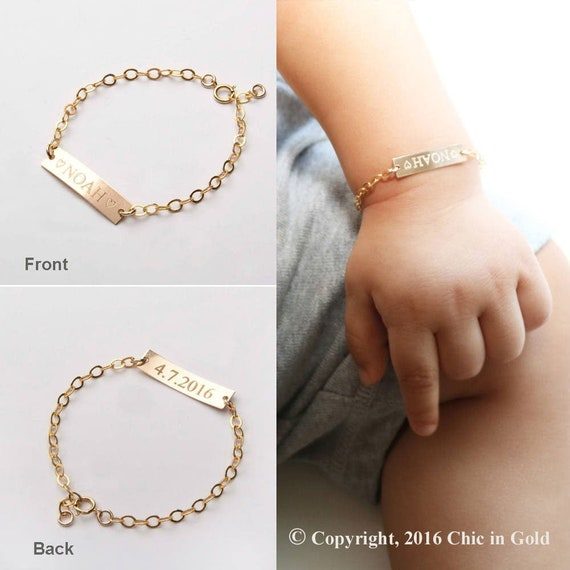 Personalized Baby Name Bracelet Adjustable Baby Toddler Child Id Bracelet Personalized Girl Boy Gift 14 K Gold Filled Rose Silver Cg374 B1 X.25 by Etsy