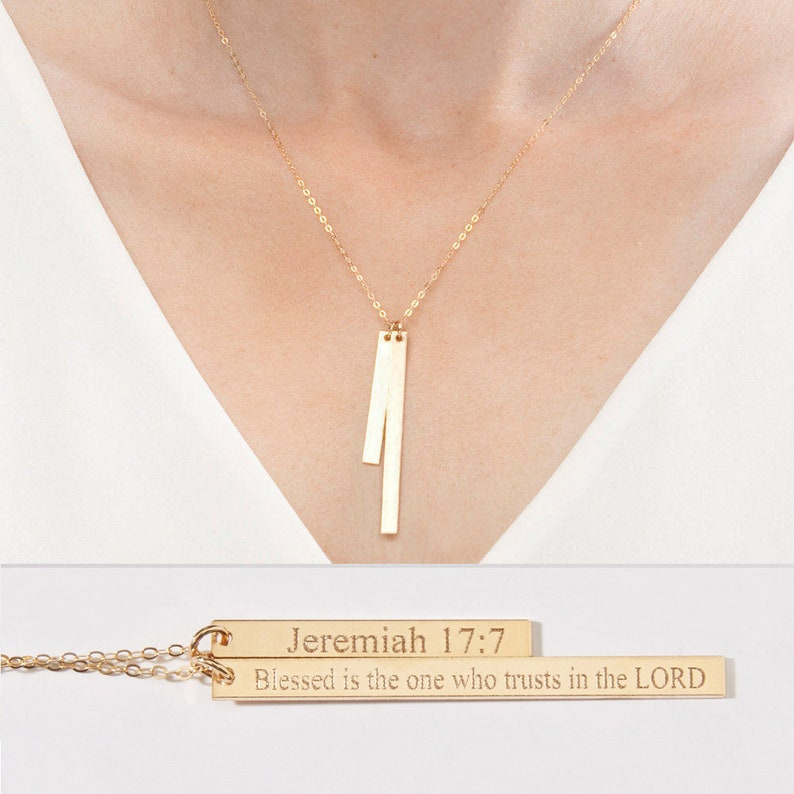 1234938f1 Personalized Two Bar Necklace-Custom Children Name   Etsy