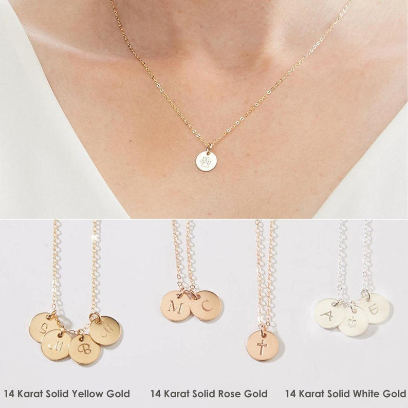 891dced99edb8 14 Karat Solid Gold - Initial Necklace-Personalized Disk Charms-Custom  Engraved Kids Initials- Pet Dog Cat Paw-Yellow,Rose,White Gold-CG347N