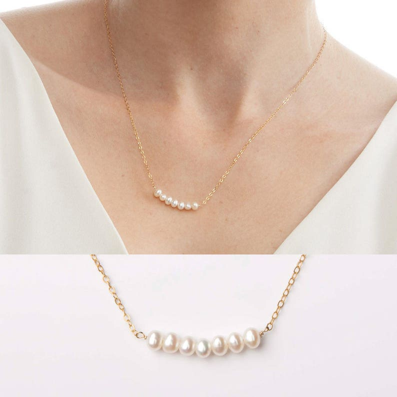 White pearl silver dainty pearl pendant necklace wedding bridesmaid pearl jewelry Freshwater pearl necklace