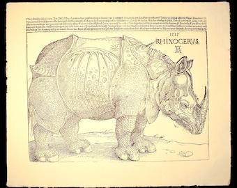 hand printed after Durer's woodcut Rhynoceros AD 1515 letterpress large handmade paper poster