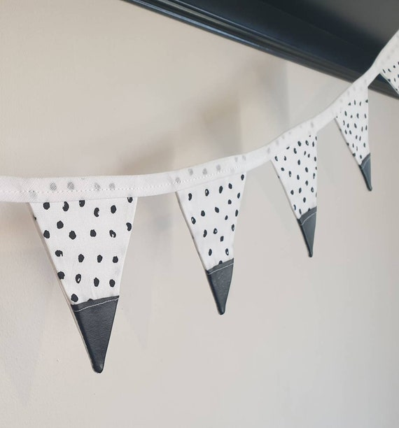 Teddy Dalmation Spot Bunting | Black and White Bunting | Gender Neutral Bunting | Polka Dot Bunting | Black Faux Leather Bunting | Spotty