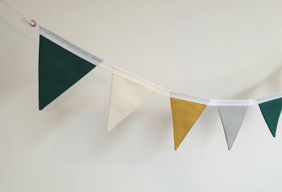 Emma Mustard Yellow, Bottle Green, Grey and Cream Bunting | Modern Bunting | Contemporary Bunting | Gender Neutral Bunting | Bedroom Bunting