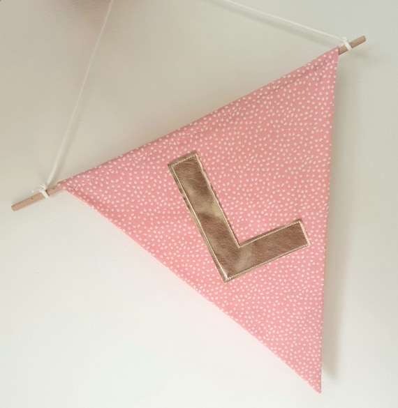 Personalised Initial Pink Speckle Wall Hanging   Banner   Custom Initials   Wall Accessories   Home Accessories   Nursery Decor