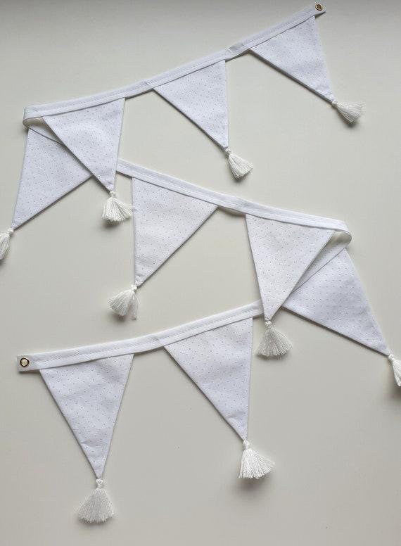 Alexandra White Tassel Bunting   Gender Neutral Design   Bunting for Nursery   Baby Shower Decor   White Bunting   Wedding Bunting