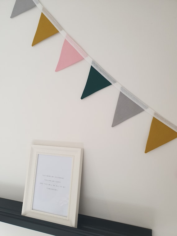 Willow Mustard Yellow, Bottle Green, Grey and Pink Bunting | Bunting for Playroom | Colourful Bunting | Nursery Bunting | Bright Home Decor
